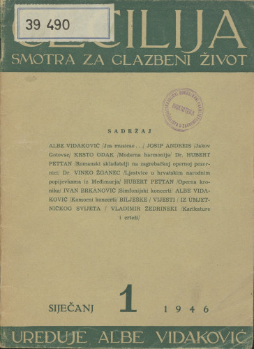 Sveta Cecilija, Godina 16, broj 1,(1946.)