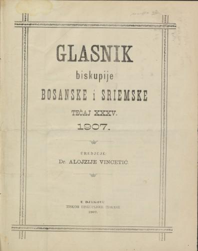 Glasnik biskupije bosanske i sriemske, Tečaj 35, (1907.)