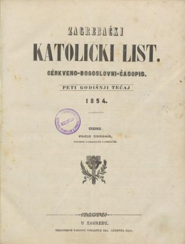 Zagrebački katolički list, Tečaj 5, (1854.)