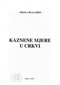 Kaznene mjere u Crkvi / Nikola Škalabrin
