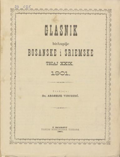 Glasnik biskupije bosanske i sriemske, Tečaj 29, (1901.)