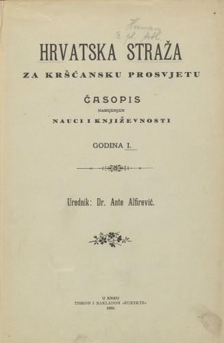 Hrvatska straža, Godina 1, (1903.)